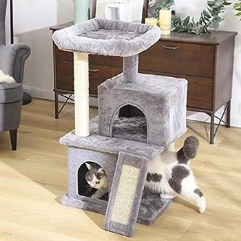Eono Essentials Arbre à Chat avec griffoir et poteaux en sisal, Arbre Chat 2 niches et 1 Platforme Pratique 49 * 45 * 86cm Gris