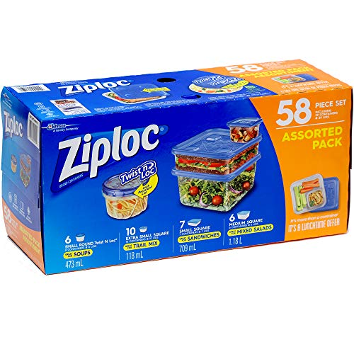Ziploc Storage Containers Assorted Pack 58 Piece Set - Includes Twist n Loc...