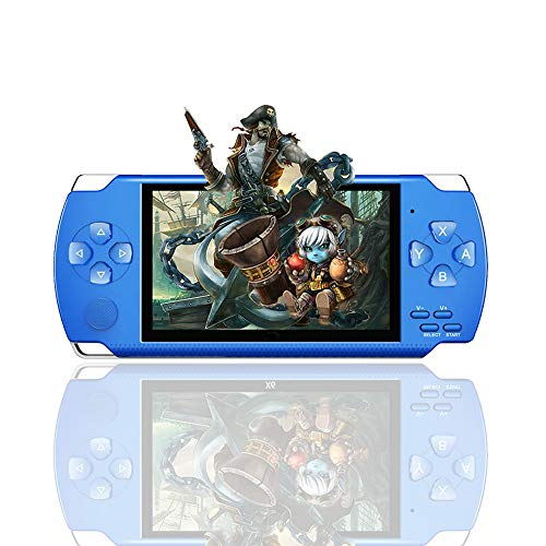 LKTINA 8GB 4.3'' 1000 LCD Screen Handheld Portable Game Console, Media Player with Camera Built in 1200+Real Video Games, for gba/gbc/SFC/fc/SMD Games, Best Gift for Kids and Adults -Blue