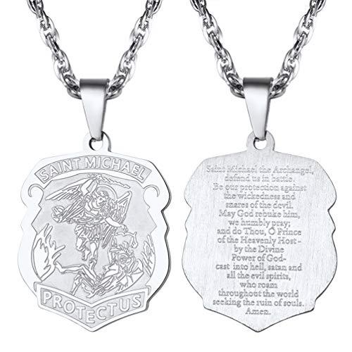 PROSTEEL Collar de Placa Ángel San Miguel Colgante Personalizable de Acero Inoxidable Chapado en Oro 18K/en Metal Negro Extensión 55cm+5cm Ajustable de Cadena Singapur
