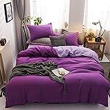 Chanyuan Juego de ropa de cama de 135 x 200 cm, color lila, reversible, 100% microfibra suave y agradable, 1 funda nórdica de 135 x 200 cm y funda de almohada de 80 x 80 cm con cremallera.