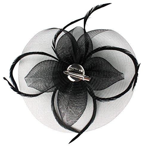Andux Cappello Copricapo Cerimonia Copricapo Donna per Sposa Halloween Cocktail Cerimonia MSTS-01 (Noir)