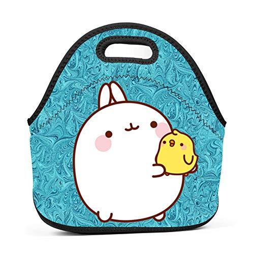 OUBAFun Neoprene Lunch Bag Cute Mo-Lang Tote Handbag Lunchbox for School Work Office
