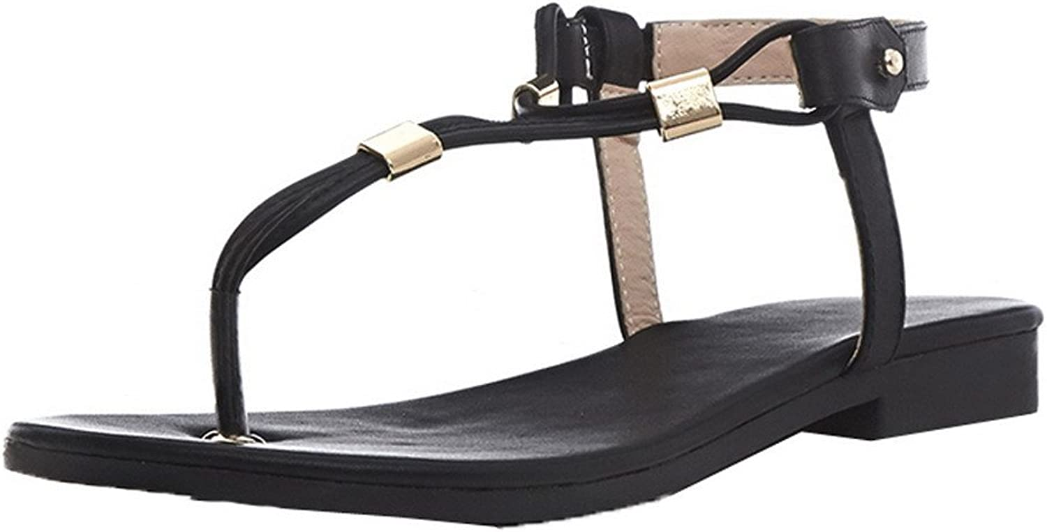 WeiPoot Women's Button Open-Toe Low-Heels Pu Solid Sandals, EGHLH006640