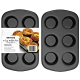 2-PIECE SET: Each muffin pan features 6 cups (total of 12 cups!) great for baking tasty muffins, cupcakes, egg cups and more. NON STICK COATING: Featuring a special innovative non-stick coating which allows for easy release snd simple cleanup. Its a ...