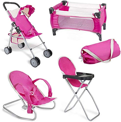 fash n kolor 4 Piece Pink Baby Doll Set, Includes - 1 Pack n Play with Carry Bag, 2 Doll Stroller, 3 Doll High Chair, 4 Infant Seat, Idaho