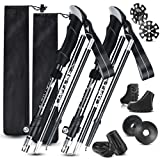 Kiaitre Trekking Poles for Hiking Collapsible – 2pc Pack Hiking Poles with Double Lock Design, Aerospace Grade 7075 Aluminum Trekking Sticks for Hiking, Walking and Camping(Full Sets of Accessories)