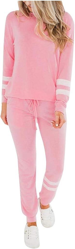 2 Piece Tie Dye Print Long Sleeve One Shoulder Drawstring Sweat Shirts for Women Leisure Sweatpants Set