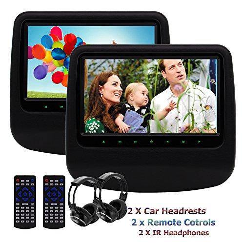 Dual Car Headrest DVD Player Eincar 9inch 800480 Screen Back-seat Monitor Built-in USB/SD HDMI Port IR FM Transmitter Wireless Headphones(Black)