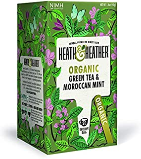 Organic Green Tea with Moroccan Mint| 20 bags per Pack| 100% USDA Certified Organic| Natural Peppermint Flavoring With No ...