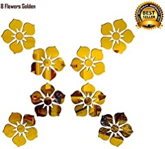 SPIRITED 8 Flowers 3D Mirror Acrylic Wall Stickers Home Office and Latest Decoration-(Golden-Pack of 8)
