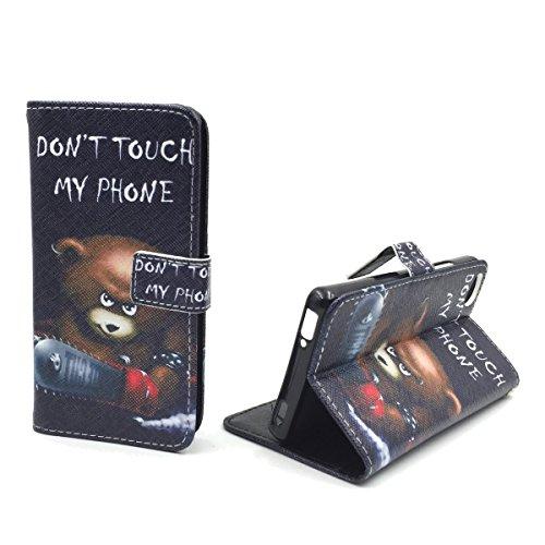 König Design Handyhülle Kompatibel mit ZTE Nubia Z9 Mini Handytasche Schutzhülle Tasche Flip Hülle mit Kreditkartenfächern - Don't Touch My Phone Bär mit Kettensäge