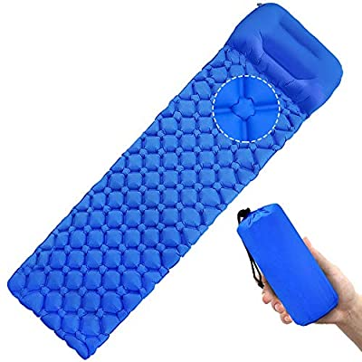 Self Inflating Pad Camping Air Pad Lightweight Sleeping Pad with Pillow Blue