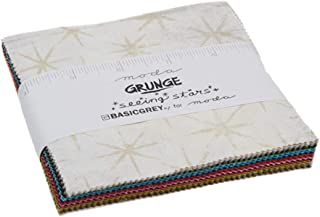 Grunge Seeing Stars Charm Pack by BasicGrey; 42-5 Inch Precut Fabric Quilt Squares