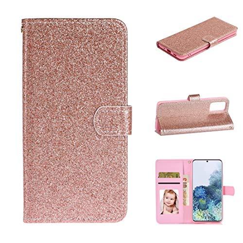 MDYHMC YXCY AYDD para Samsung Galaxy S20 Plus Glitter Powder Horizontal Flip Funda de Cuero con Ranuras y Soporte para Tarjetas y Marco de Fotos y Billetera (Color : Rose Gold)