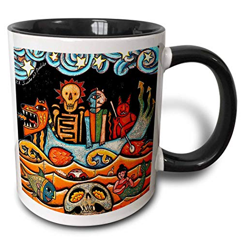 N\A The Devil s Dream Folk Art Skulls Surrealismo Colorido Mexicano - Taza Negra de Dos Tonos, Multicolor