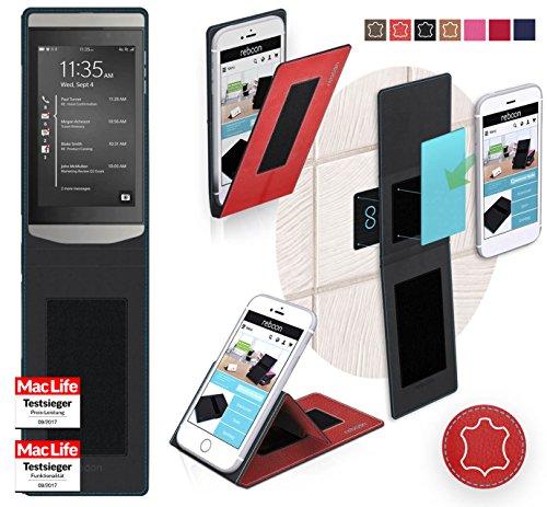 reboon Hülle für BlackBerry Porsche Design P9982 Tasche Cover Case Bumper | Rot Leder | Testsieger