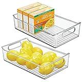 mDesign Wide Plastic Kitchen Pantry Cabinet, Refrigerator or Freezer Food Storage Bin with Handles - Organizer for Fruit, Yogurt, Snacks, Pasta - BPA Free, 14' Long, 2 Pack - Clear