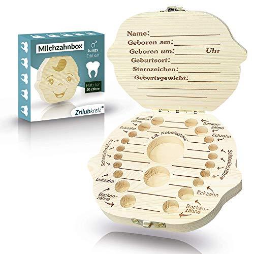 Zrilubkrelz® Zahnbox Zahndose für Kinder aus Holz | Deutsche Sprache | 2 Versionen für Junge & Mädchen | Milchzahndose Milchzahnbox für Milchzähne als Geschenk zur Einschulung Geburt Taufe box