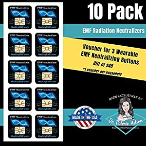 EMF Protection for Cell Phone Radiation Neutralizers + Free $45 Voucher for 3 EMF Radiation Neutralizer Buttons – Slim Design – 100% USA Made – 5, 10 or 20 Pack – Doctor Created