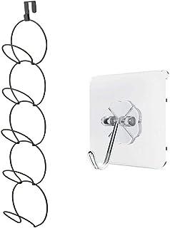 JZK Sobre Puerta Colgador Sombreros de Metal Negro, con Gancho Adhesivo para Montaje en Pared, Sombrero Gorras de béisbol Ganchos para Colgar