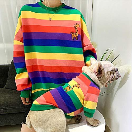 FHKGCD Pet Matching kleding voor honden Bulldog winter huisdier hond kleding Ropa Perro gestreepte hoodie kostuum voor honden mantel