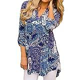 Toimoth Women O Neck Three Quarter Sleeved Printed Loose Tops T-Shirt Blouse (Blue,L)