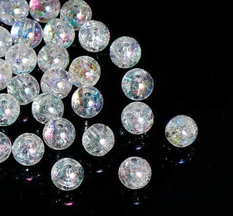 200 perlas acrílicas de 8 mm, craqueladas, transparentes, para manualidades, redondas, transparentes, de acrílico con agujero, para hacer joyas y enhebrar
