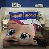 DZSCW Storks - Juego de ropa de cama infantil de 135 x 200 cm, diseño de anime 3D HD, funda de almohada de 80 x 80/50 x 75 cm (A-2,220 x 240 cm + 50 x 75 cm x 2)