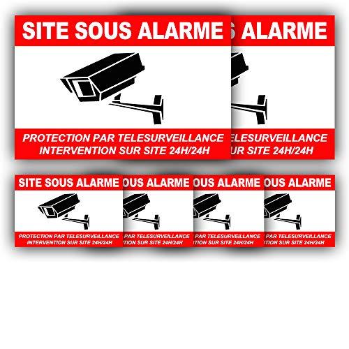 Autocollants Vidéosurveillance (x 6) + plastification de Protection Anti UV : Protection par télésurveillance - Intervention sur site 24H/24H - CRB (Lot 1 : 2+4)