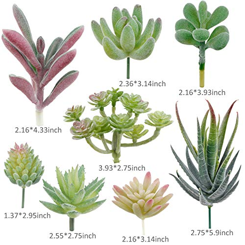 Augshy Artificial Succulent Flocking Plants-16 Pack