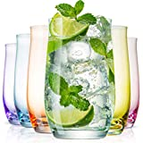 BENETI Exquisite Highball Colored Drinking Glasses [Set of 6] Colorful Water Glasses with Heavy Base, Cocktail Glasses, Collins Glasses, Tumbler Glasses, Glass Cups for Juice, Barware Set (14oz Cups)
