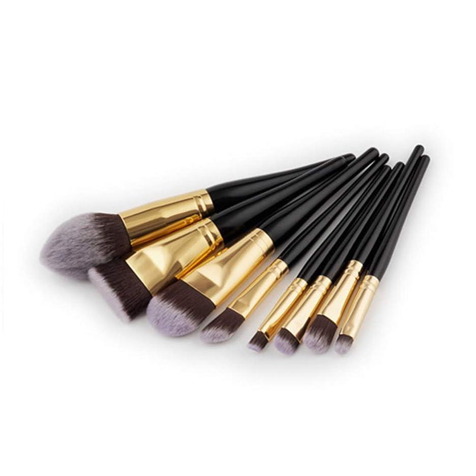 モーションケープ日付付きメイクアップブラシセットツールメイクアップトイレタリーキットナイロン化粧ブラシアイブラシ1 (Color : Black Gold)