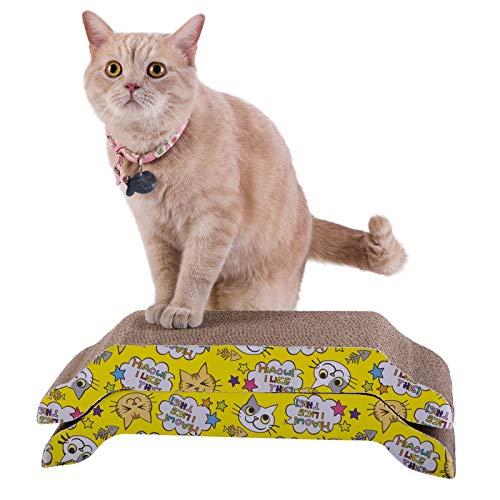 HAPPY HACHI 2 Piezas Rascador Carton para Gatos Gatera Cama Cartón Corrugado Sofá para Gatito Doble Cara Resistente Arañazos para Gatitos Pequeños Grandes