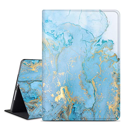 ANERIMST iPad 8th/7th Generation Case, iPad 10.2 2020 2019 Case, Microfiber Lining, Soft TPU Back, Auto Sleep/Wake, Protective Smart Cover for New iPad 8th/7th Gen 2020/2019 (bluegold-Marble)