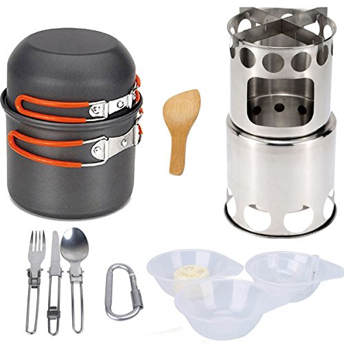 CLII Camping Cookware Stove Senderismo Camping Cookware Set para Exteriores, Estufas de leña portátiles Picnic BBQ con Parrilla de Rejilla,Naranja