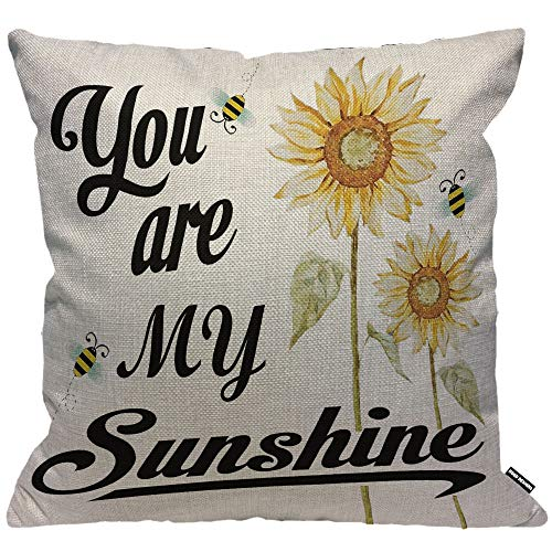 HGOD DESIGNS Cushion Cover You are My Sunshine Quote with Bees and Yellow Sunflowers Throw Pillow Cover Home Decorative for Men/Women/Boys/Girls Living Room Bedroom Sofa Chair 18X18 Inch Pillowcase