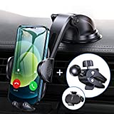 Sturdy Car Phone Holder with Upgraded Strong Suction Cup and Stable Screw Locking Vent Clip Never Fall, Anwas No Block Design Easy to Use Cell Phone Mount Cradle Fit for All 4.0 to 6.9 inches Phones
