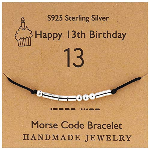 YooAi Morsecode Armband Alles Gute zum Geburtstag Geschenke für Mädchen Jungen Sterling Silber Armband Geburtstagsgeschenk Schmuck für 13 Jahre alte Perlen auf Seidenschnur 13