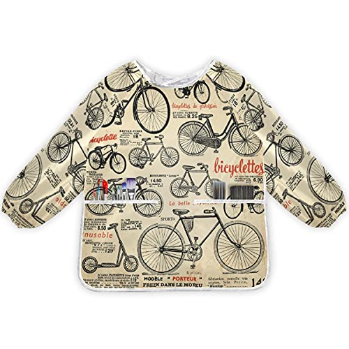 FVFV Arte Antiguo De La Bicicleta Delantales para Niños, Delantal para Pintura Mangas Largas Delantal Impermeable Infantil para 2-8 Años