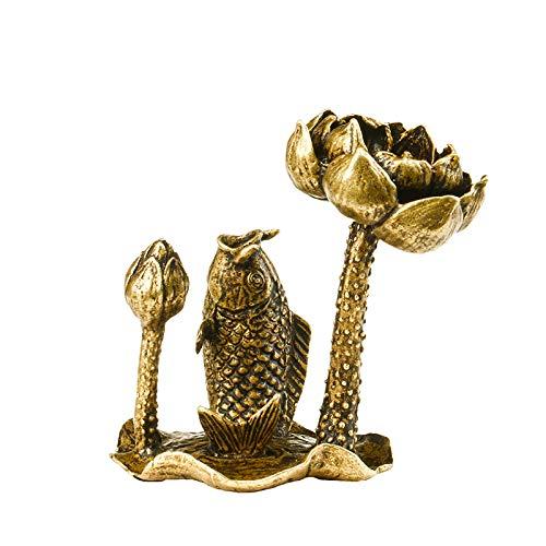 Fashion158 Pure koper lotus vis is meer dan een jaar van thee ceremonie terug naar de zen ornamenten koper sculptuur huis wierook tafel slinger koper