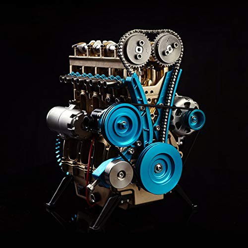 ZUJI ZUJI Miniatura Motor de Coche Modelo 4 Cilindros Metal Motor Engine Kit Juguete de Montaje - Dificultad Alta