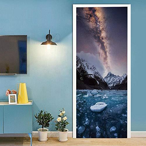 HJLXDP estéreo 3D Murales de la puerta W95xH215cmFotografía de iceberg estrellado Etiqueta Engomada del Arte Mural De La Puerta 3D Papel Pintado Autoadhesivo Calcomanía De Vinilo para La Puerta Carte