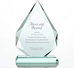 Baudville Engraved Trophy - Jade Glass - Award for Employees - Peak Shaped - Personalized Engraving Up to Three Lines and Pre-Written Verse Selection - Comes in Gift Box