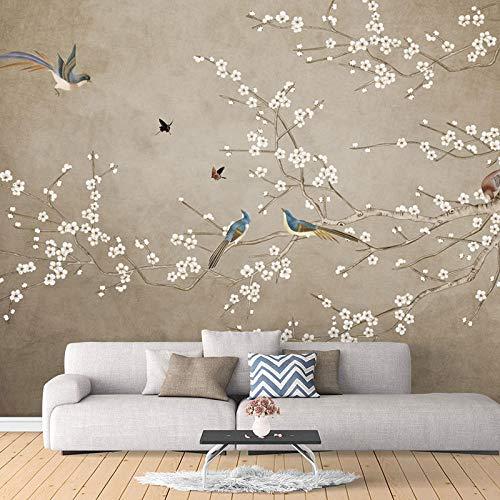 Yagu 5d neuen chinesischen Stil Blume und Vogel Wandverkleidung Tapete 8d Schlafzimmer Wohnzimmer TV Hintergrund Wandmalerei nahtlose ganz fototapete 3d effekt tapete tapeten wald vintage-300cm×210cm