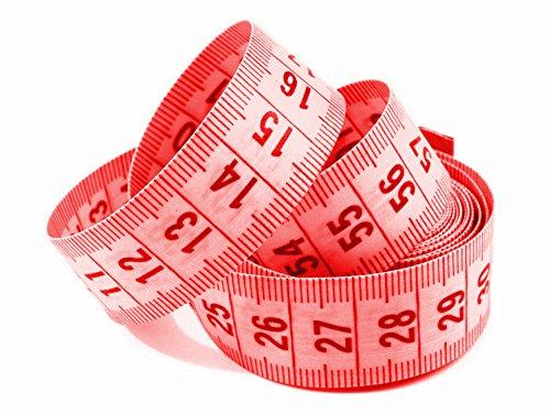 Maßband 150cm inkl. Aufbewahrungsdose, Schneidermaßband, Bandmaß, viele Farben (1 Stück, rot)
