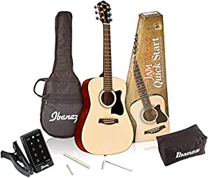 Ibanez 6 String Acoustic Guitar Pack, Right Handed, Natural Gloss (IJV30)