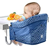 MTWML Hook On Chair,Portable Table High Chair with Tray,Clip On Baby Feeding Seat for Kitchen Desk and Dining Counter,Fold-Flat Storage and Tight Fixing Fast Table Chair for Infant Toddler Kid(Blue)