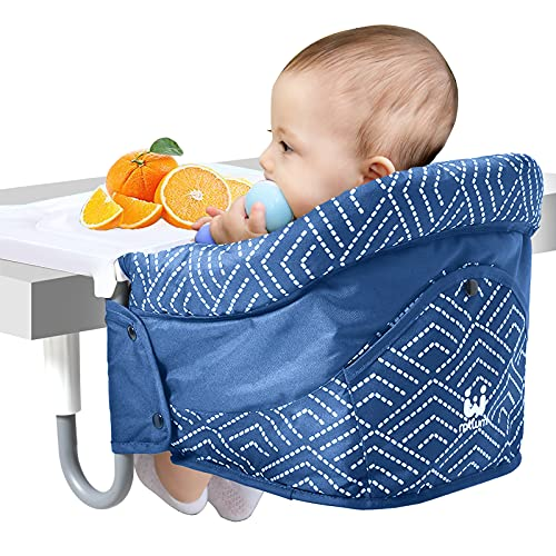 Hook On High Chair,Clip On Chair, Fold-Flat Storage and Tight Fixing Clip on Table High Chair, Safe and High Load Design Fast Table Chair for Home and Travel (Blue)