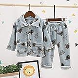 EETYRSDe los niños de la Chaqueta Breasted-Single Invierno Espesado Franela Pijamas de Dibujos Animados Servicio de Traje pequeño Monstruo Cardigan Pijamas (Color : Blue, Size : 120cm)